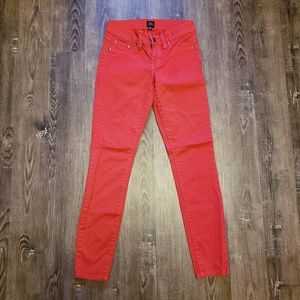 BEBE FIRE HOT ENGINE RED SKINNY JEANS 26/28
